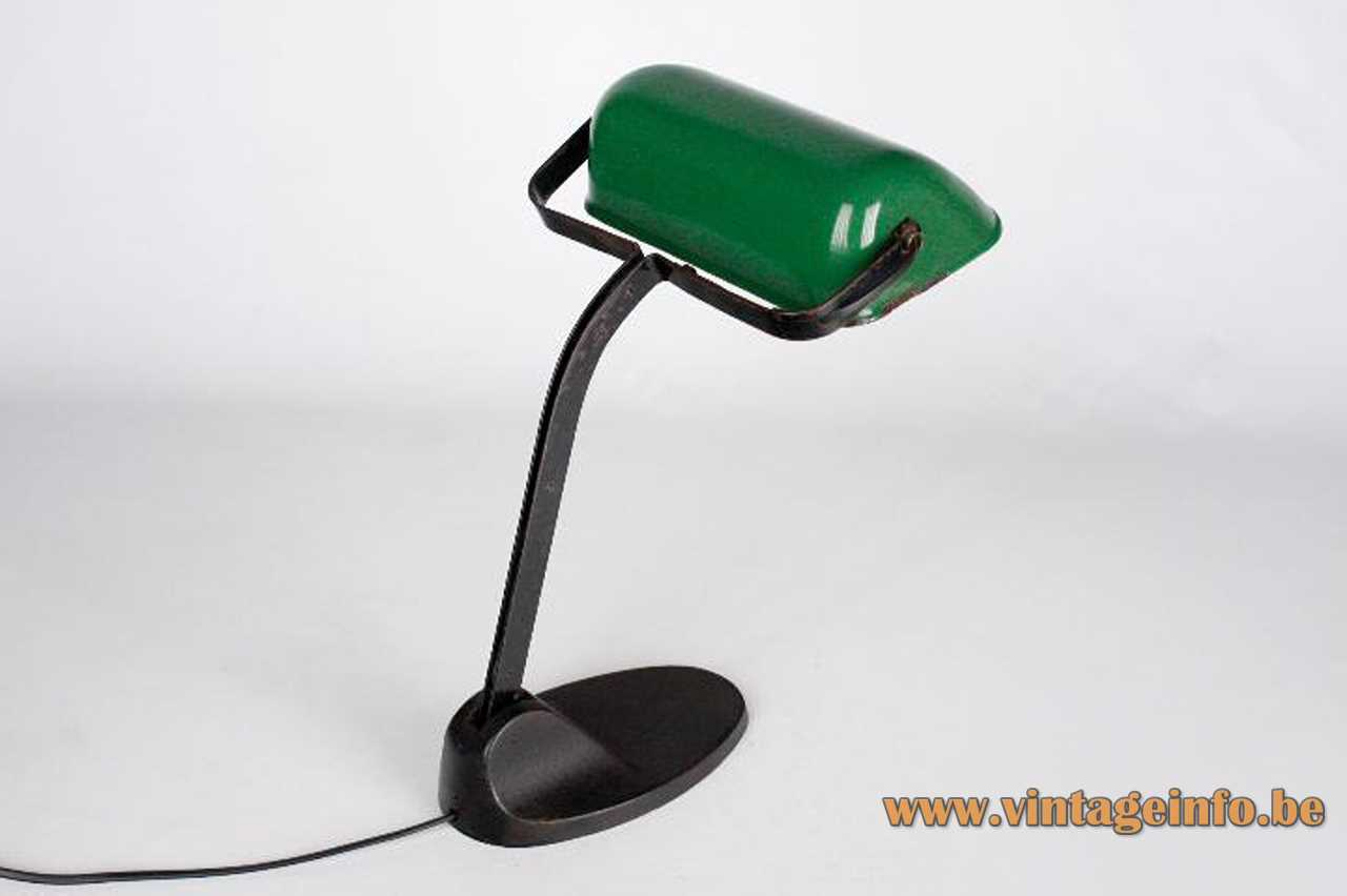 Viktoria bankers desk lamp oval cast iron base elongated green metal lampshade 1920s 1930s Germany