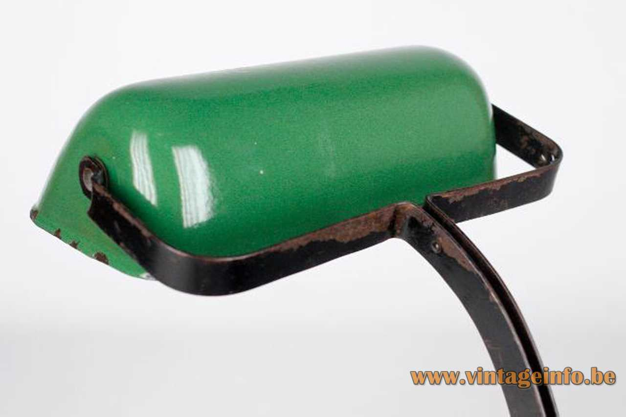 Viktoria bankers desk lamp elongated green metal lampshade 1920s 1930s Germany E27 socket