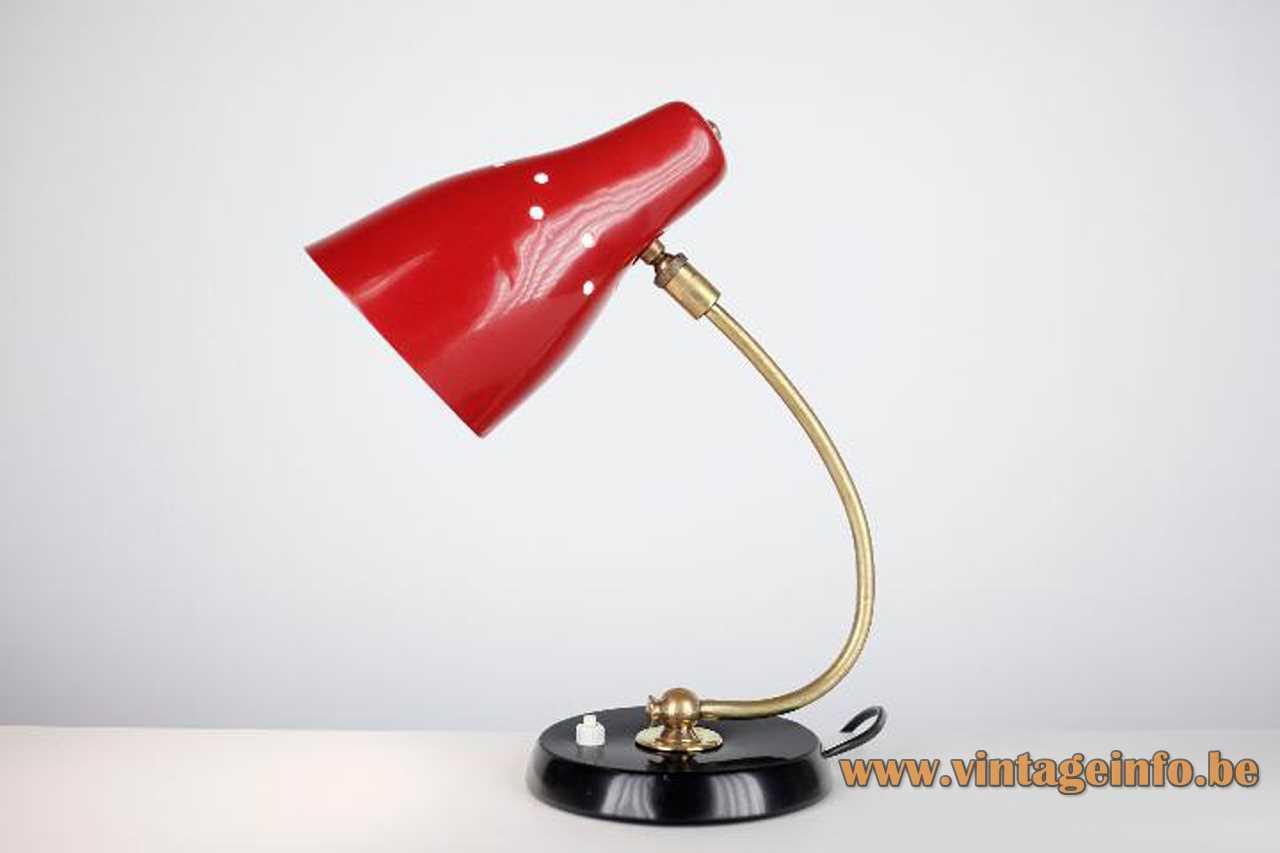 1960s Erpé desk lamp round black aluminium base curved brass rod red metal lampshade 1950s Belgium