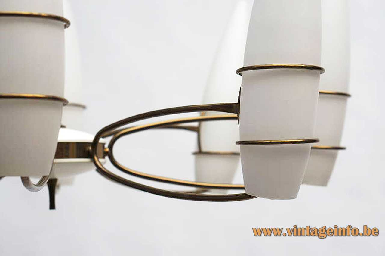 1960s opal cones chandelier curved brass rods white frosted glass lampshades 1950s Massive Belgium E14 sockets