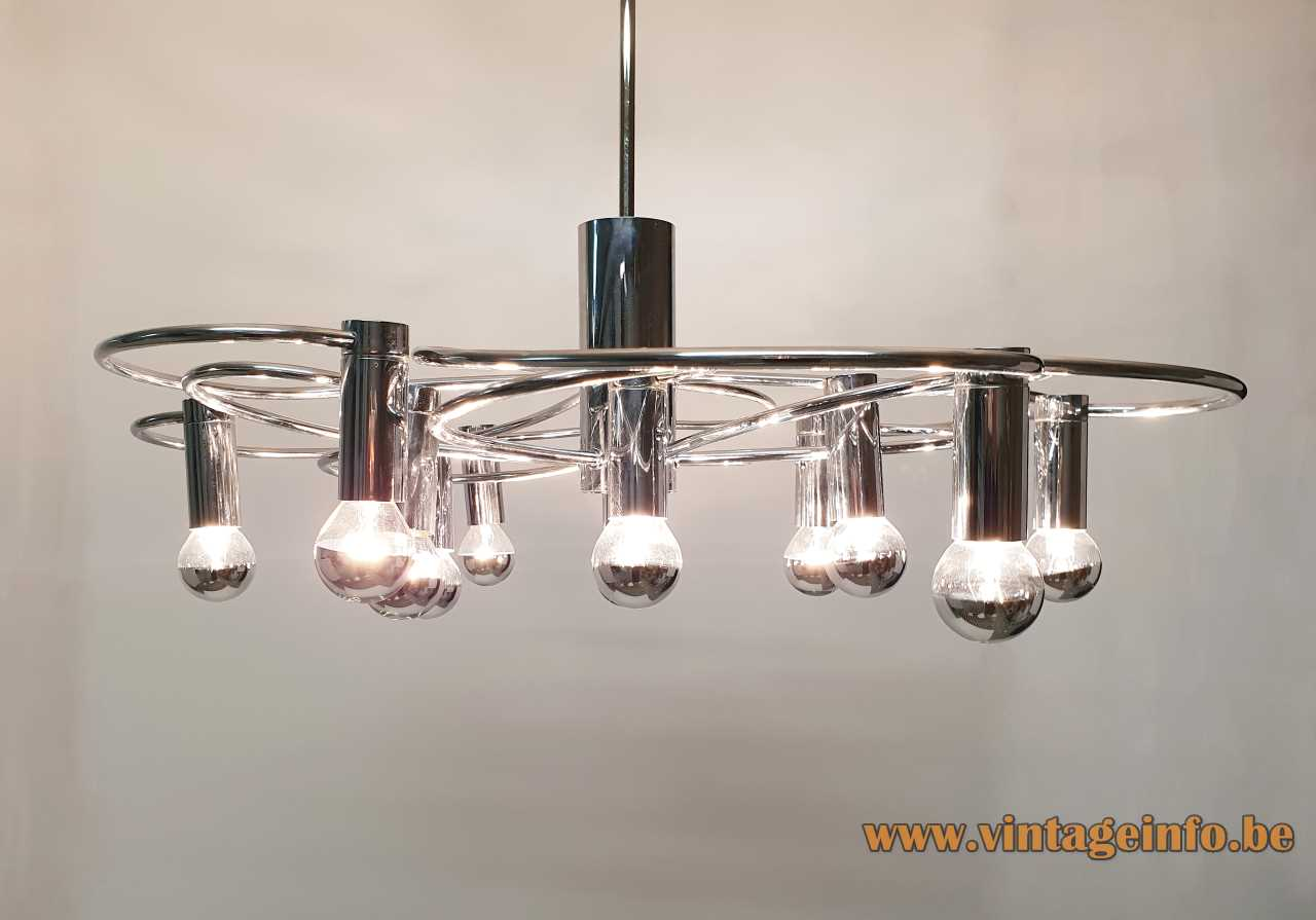 1970s chrome Cosack chandelier curved rods & tubes 12 light bulbs Neheim-Hüsten Germany Gecos