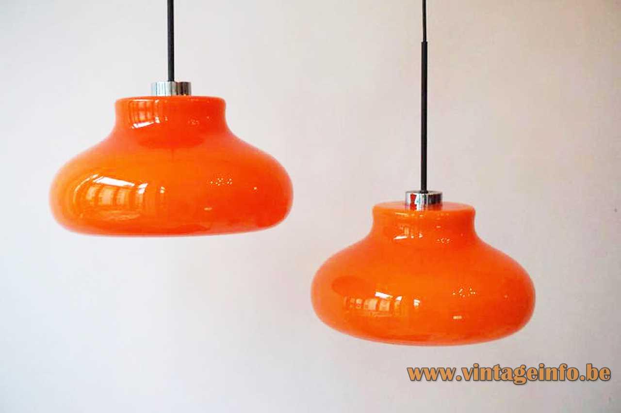 1970s orange glass pendant lamp hand blown round curved lampshade chrome lid Massive Belgium E27 socket