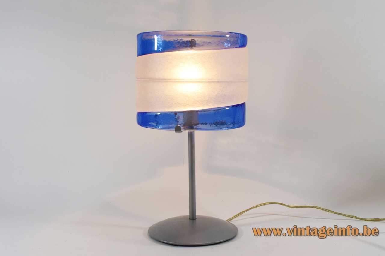 AV Mazzega Riflessi table lamp round base hand blown blue & white glass lampshade 2000s Murano Italy