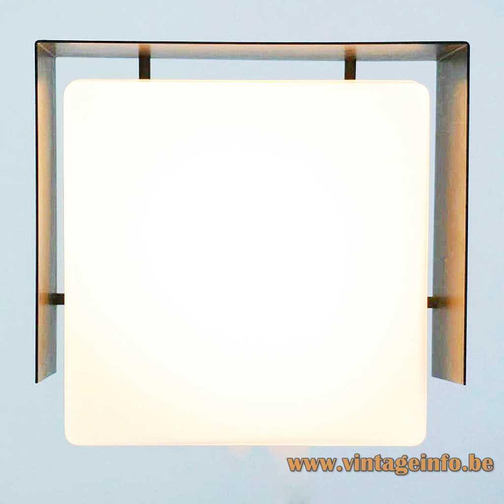 BEGA square wall lamp black metal base opal glass lampshade 1960s 1970s Germany E27 socket