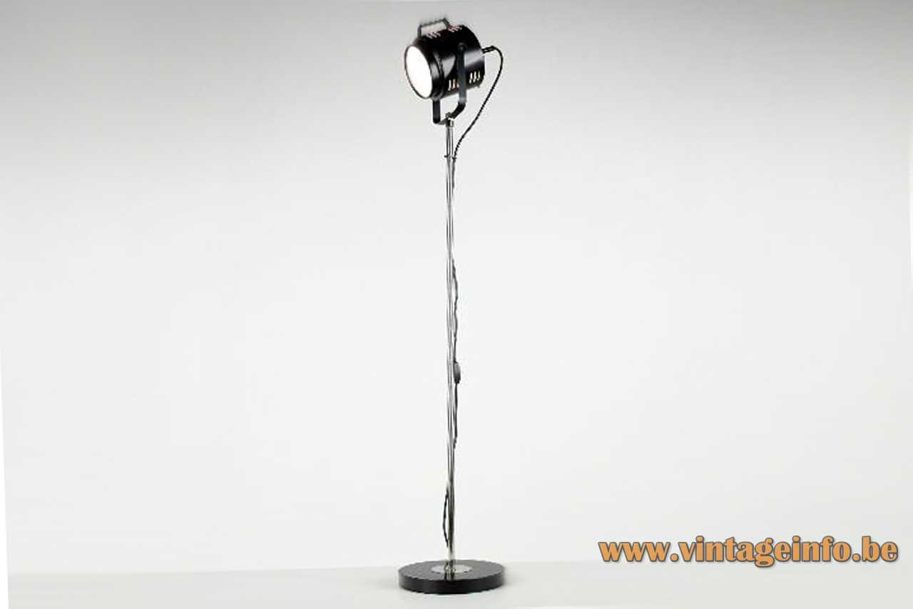 Baum Leuchten floor lamp round black base chrome rod adjustable theatre spotlight lampshade 1970s Germany