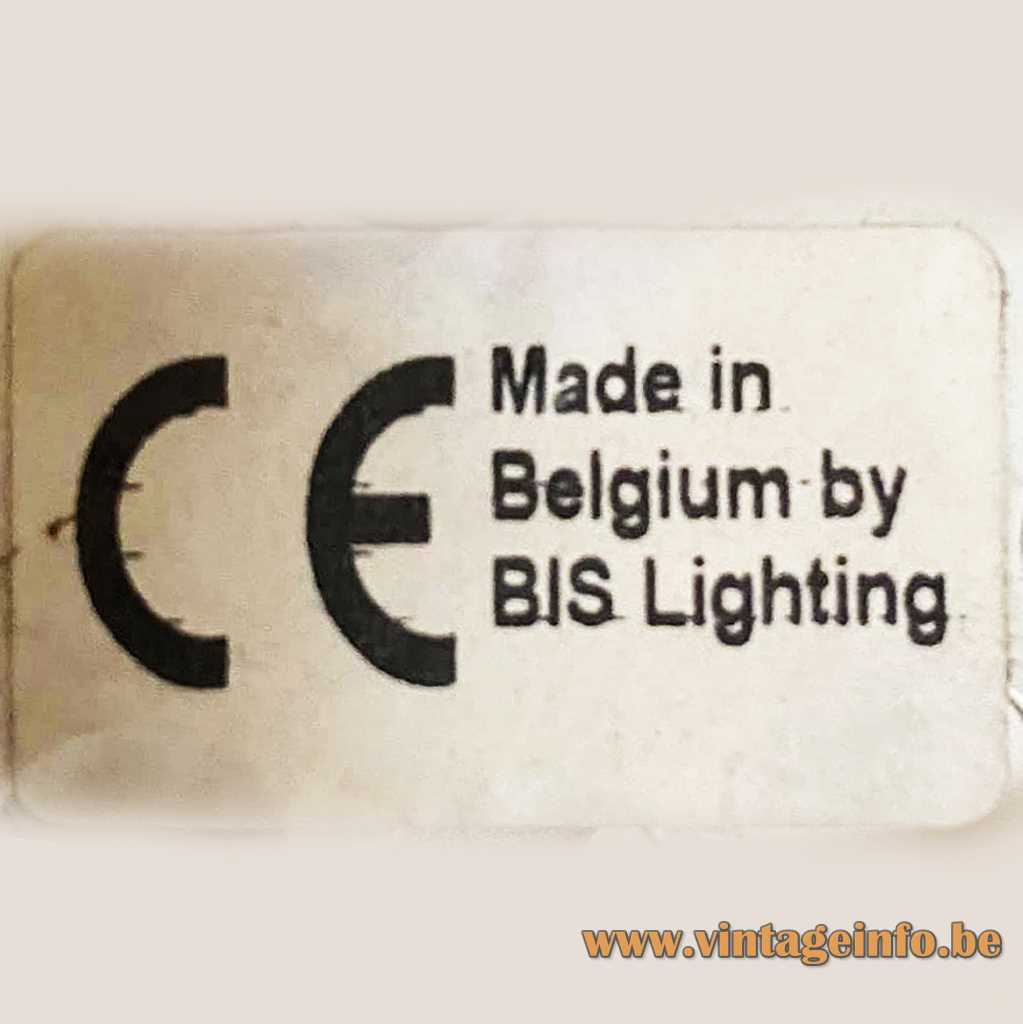 Bis Lighting Belgium Label - 1990s Label
