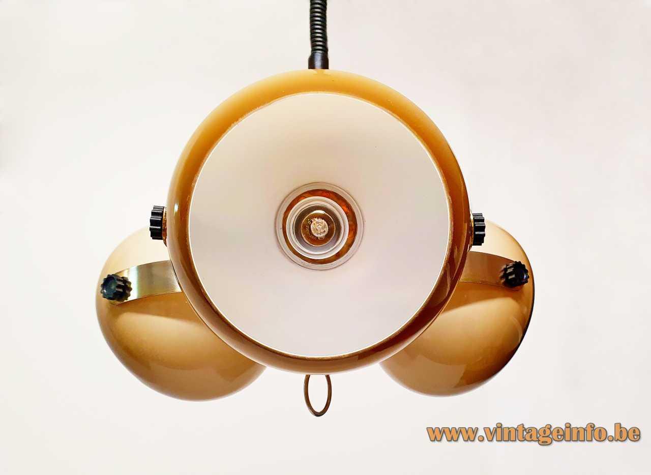 Brown acrylic globes pendant lamp adjustable 3 plastic sphere lampshades 1970s Massive Belgium E27 sockets