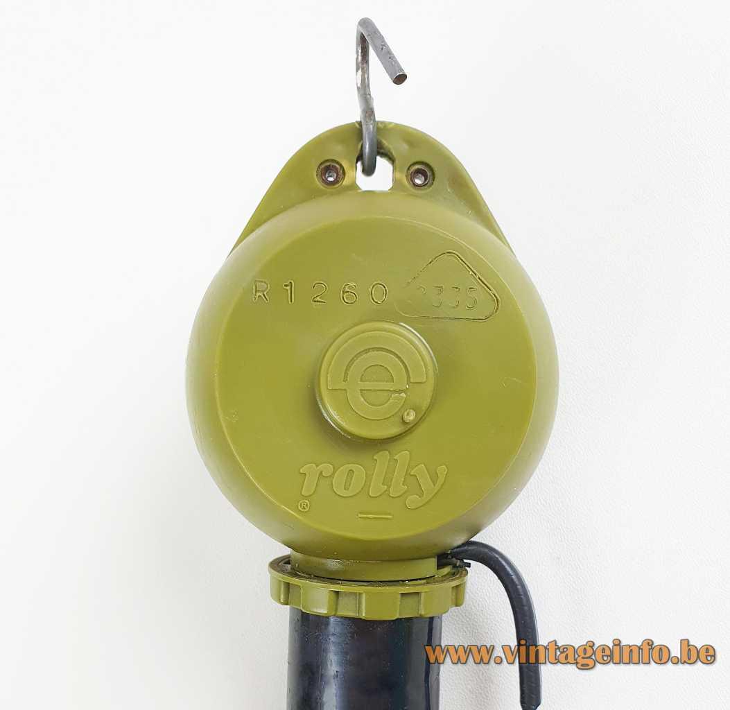 Brown acrylic globes pendant lamp green Rolly rise & fall mechanism 1970s Massive Belgium