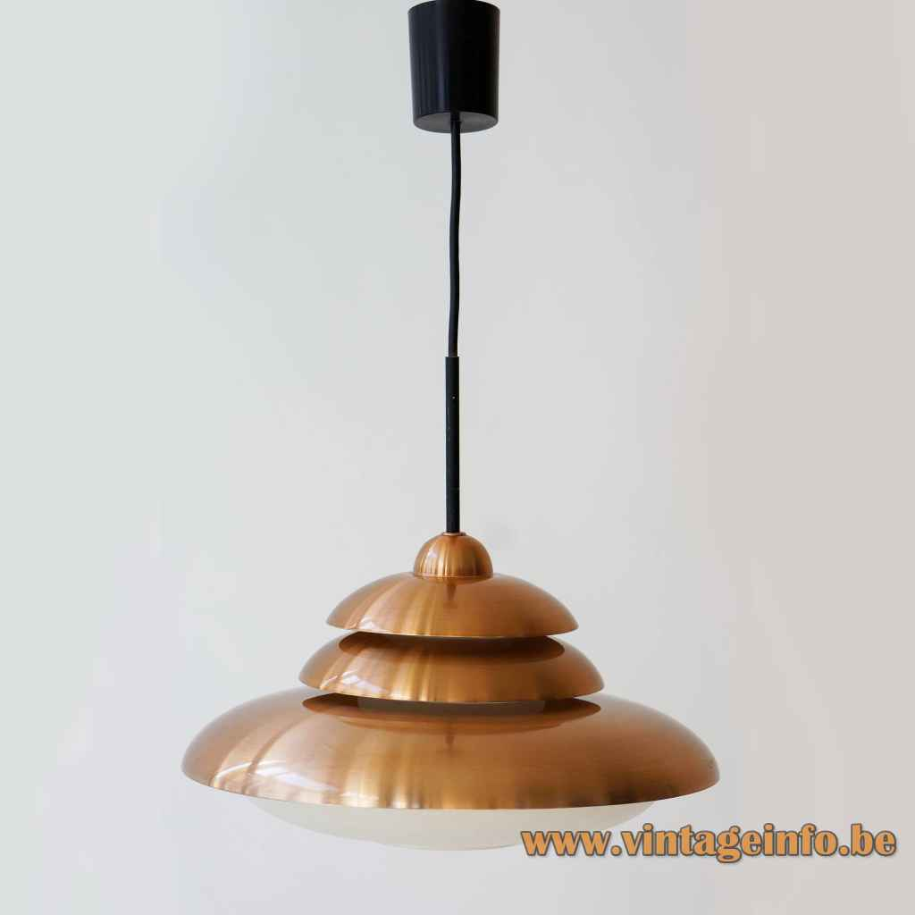 DORIA copper pendant lamp opal glass diffuser round metal triple lampshade 1960s Germany E27 socket