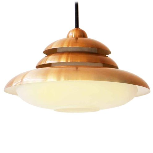 DORIA copper pendant lamp opal glass diffuser round metal triple lampshade 1960s Germany E27 socket