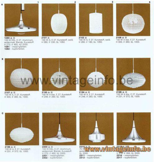 ERCO Aluminium Counterweight Pendant Lamp - 1976 Catalogue Picture