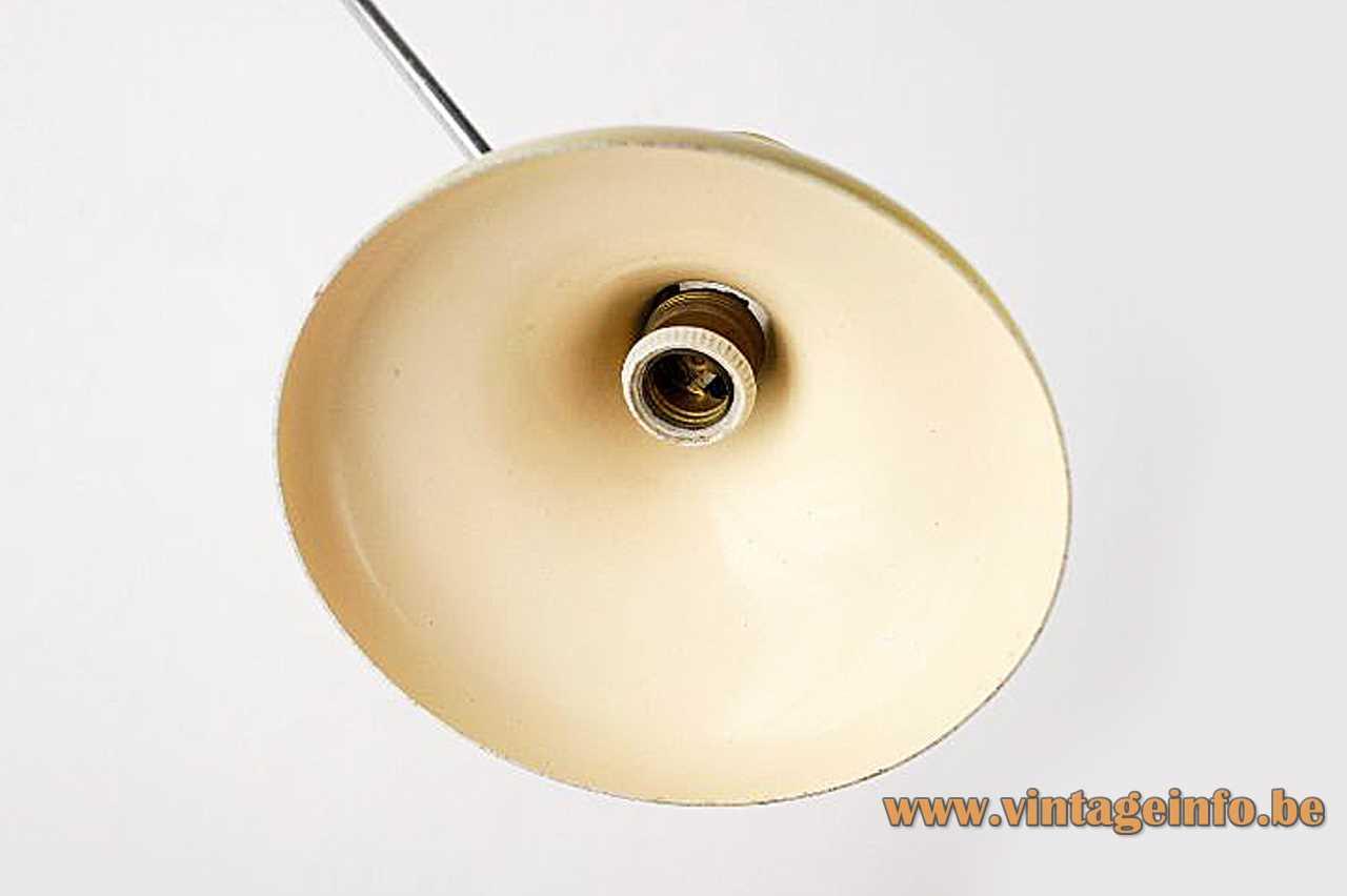 Erpé diabolo wall lamp light yellow lampshade long chrome rod metal mount 1950s 1960s Belgium