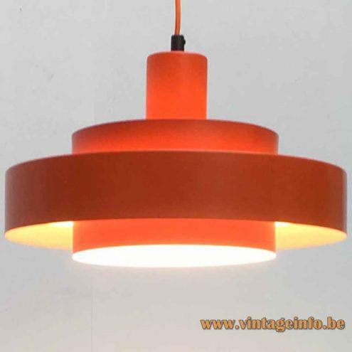 Fog & Morup Equator Pendant Lamp - Orange Version - 1968 Design: Jo Hammerborg, Denmark
