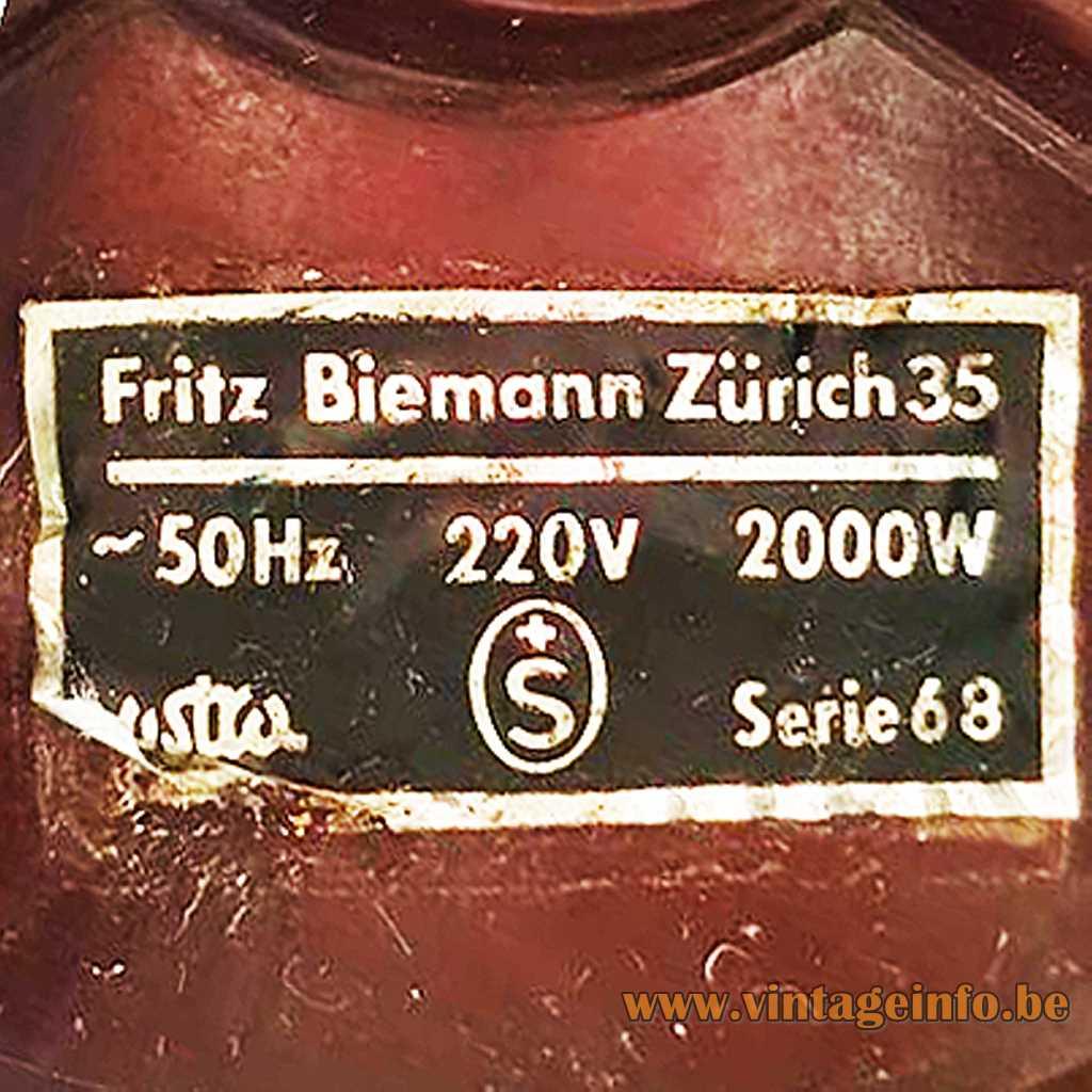 Fritz Biemann Zürich Label