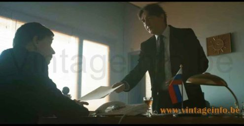 Helo Leuchten desk lamp used as a prop in the 2018 TV series Moscow Noir S1E4