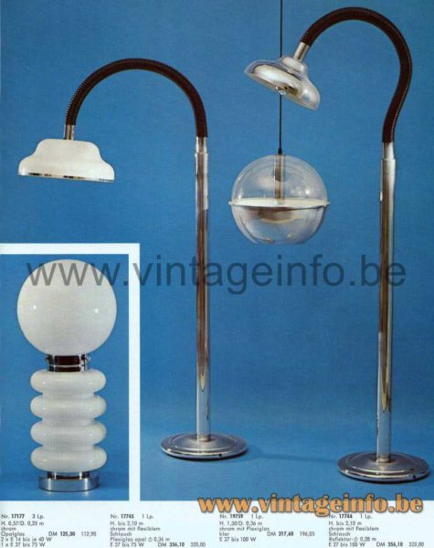 Josef Brumberg Globe Table Lamp - 1973 Catalogue Picture