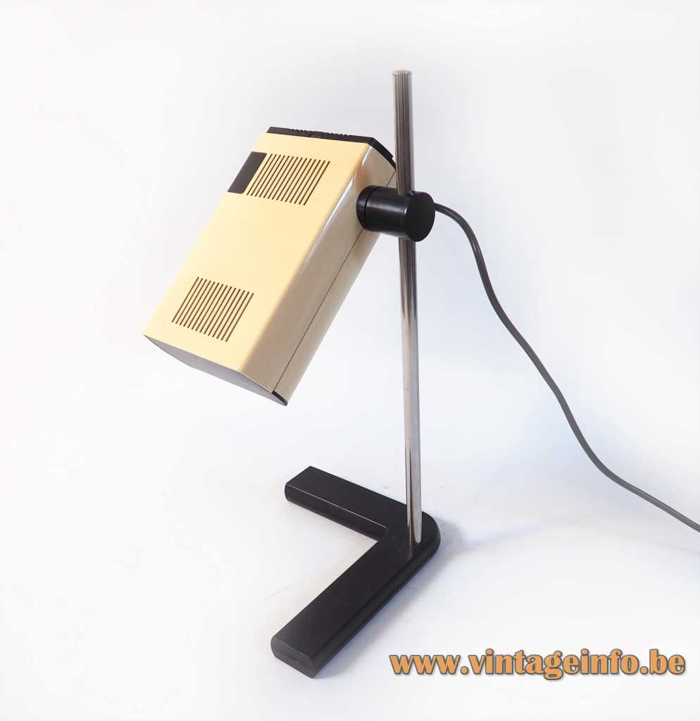 Manade SAMP desk lamp cast iron L-base chrome rod rectangular beam lampshade 1970s France