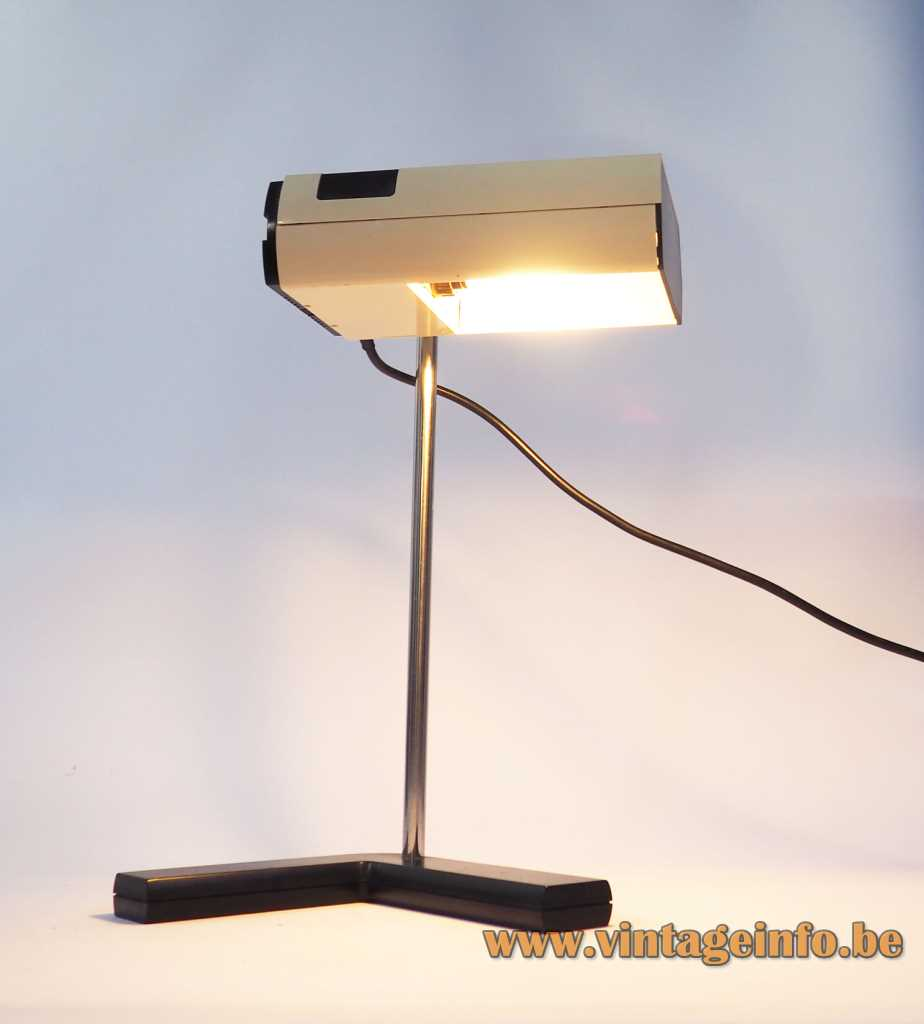 Manade SAMP desk lamp cast iron L-base chrome rod rectangular beam lampshade 1970s France