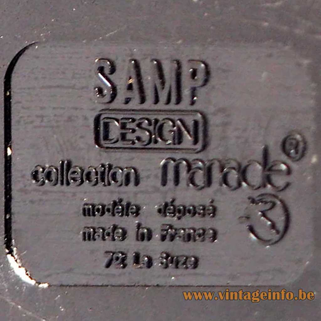 Manade SAMP desk lamp pressed logo & label 1970s France