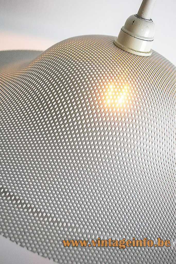 Massive grid pendant lamp round white metal gauze lampshade 1980s Belgium Bakelite E27 socket