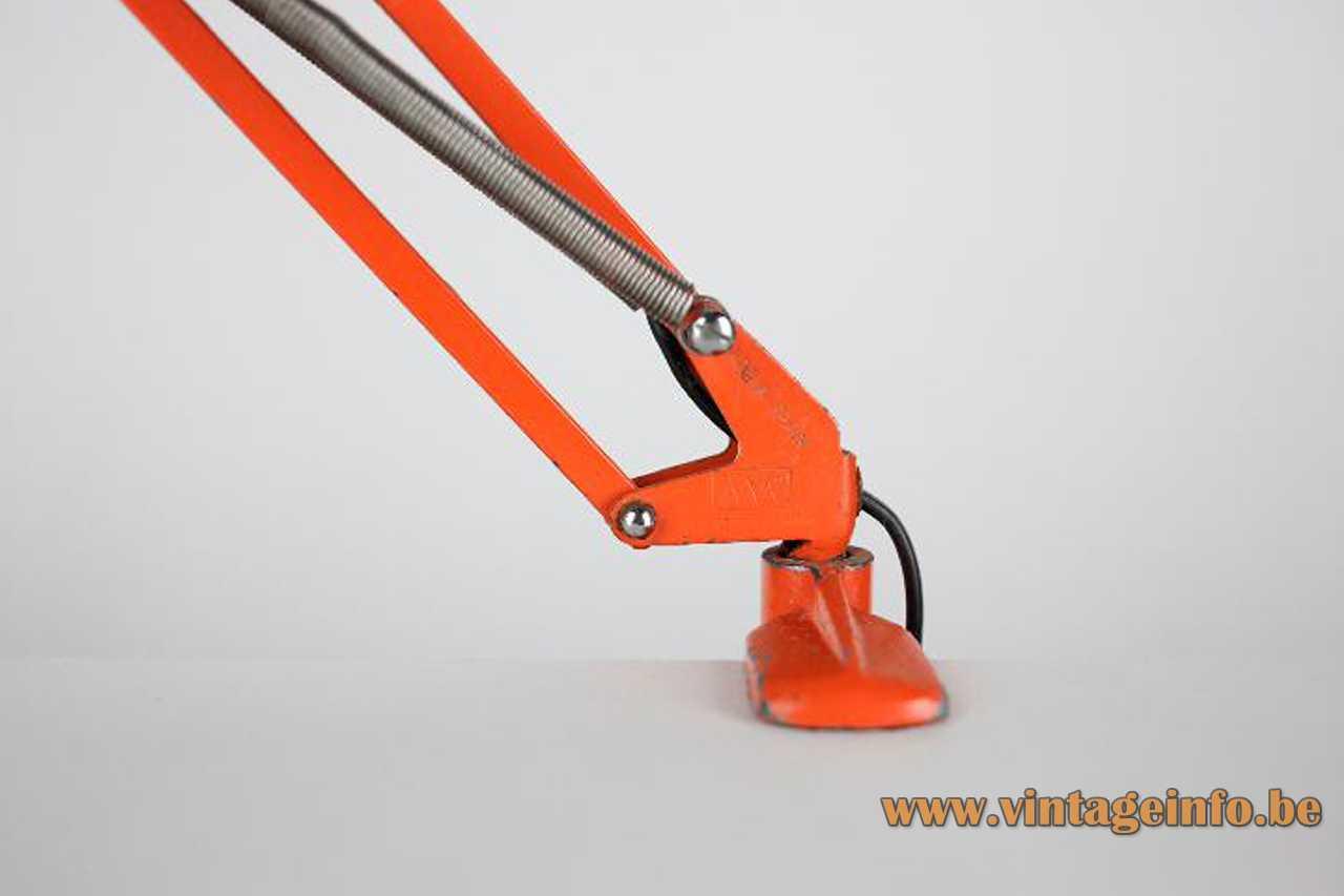 Metalarte architect clamp lamp orange square rods chrome springs conical lampshade 1960s 1970s Spain E27 socket