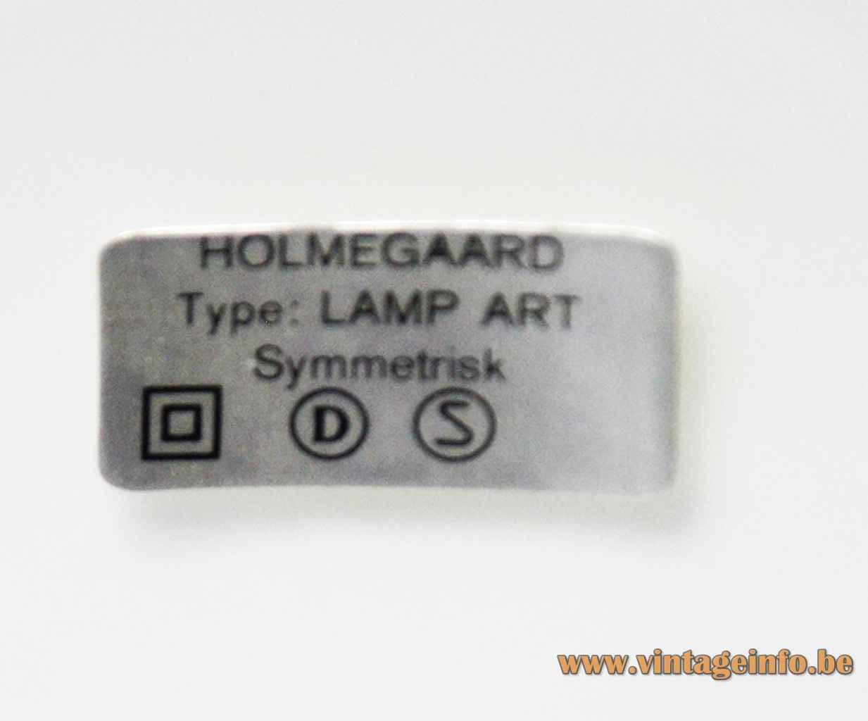 Michael Bang Holmegaard table lamp rectangular paper label Type: Lamp Art Symmetrisk 1972 design Denmark