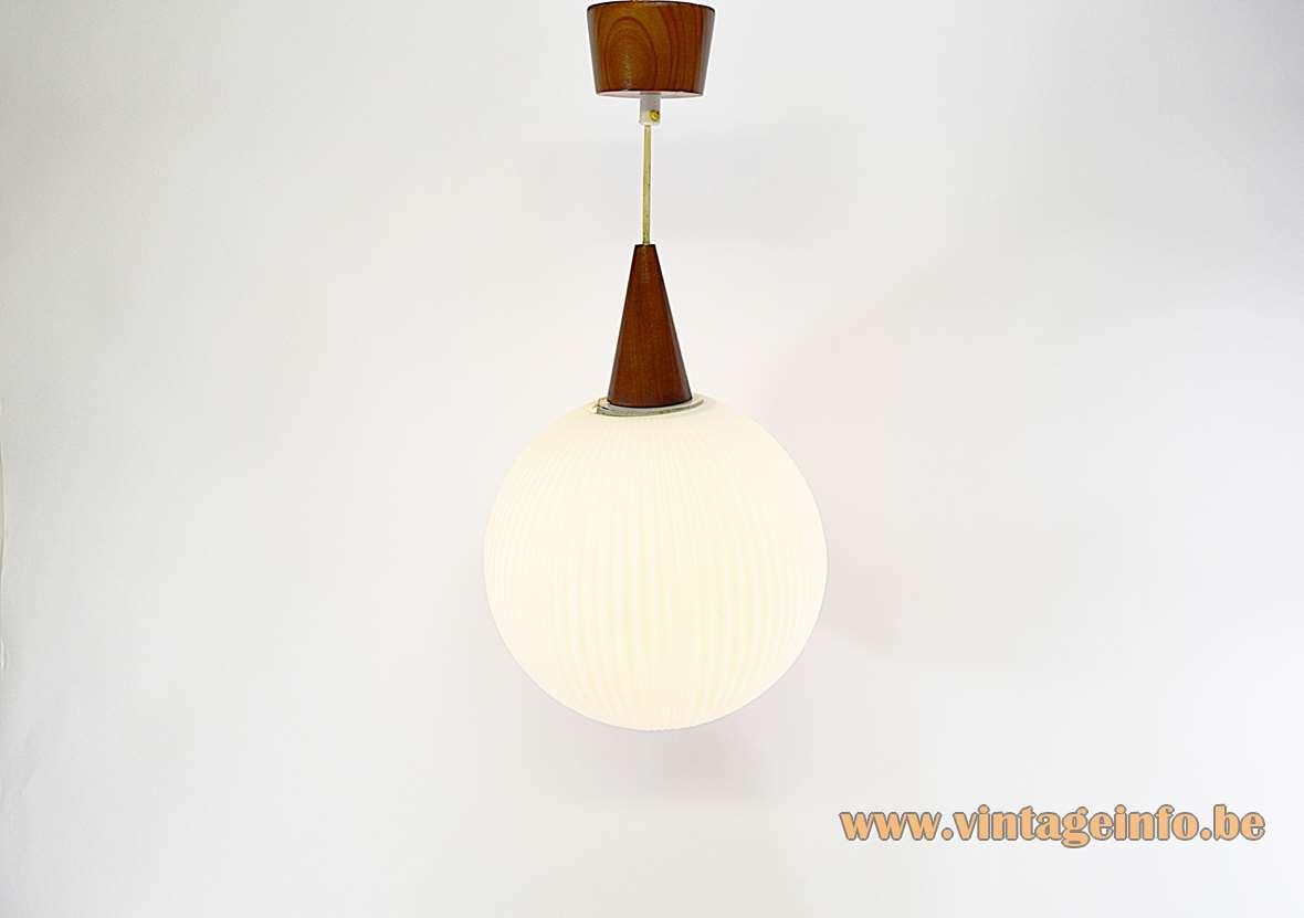 Opal glass globe pendant lamp ribbed white sphere conical wood 1950s 1960s Massive Belgium E27 socket
