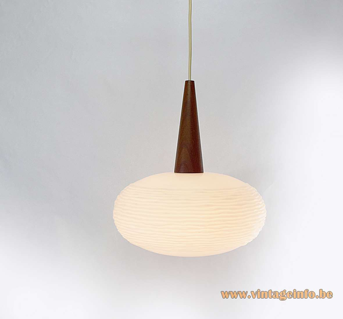 Oval globe pendant lamp frosted embossed opal glass sphere lampshade conical teak wood 1960s Massive Belgium