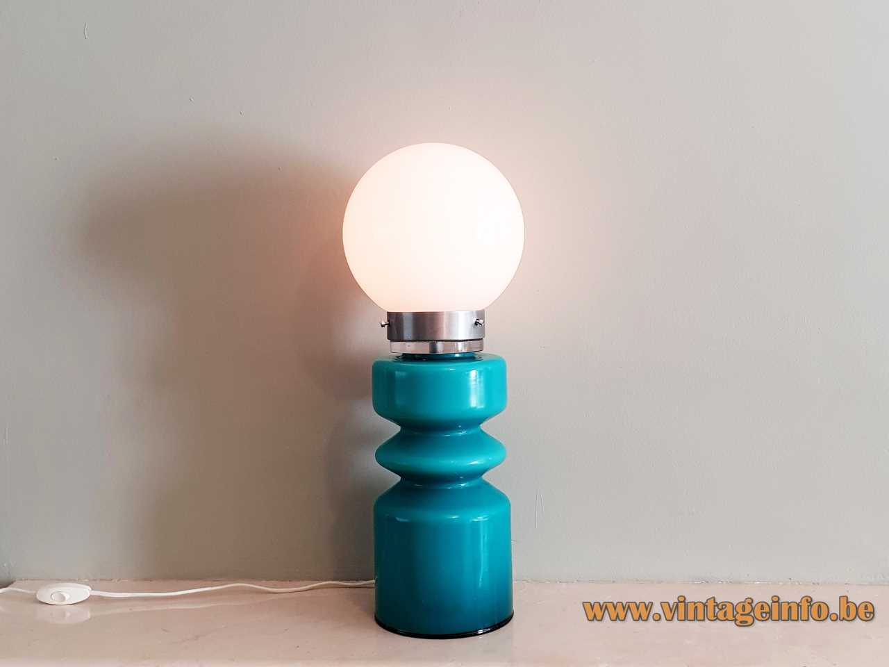Turquoise glass table lamp round hand blown blue base white opal globe lampshade 1970s
