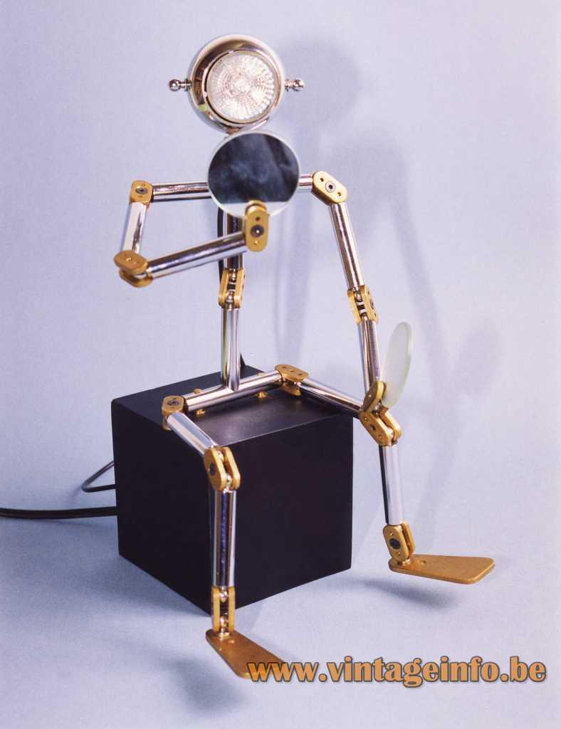 Ygnacio Baranga Osqar table lamp black cube base adjustable robot round lampshade 1990s Belgium halogen bulb