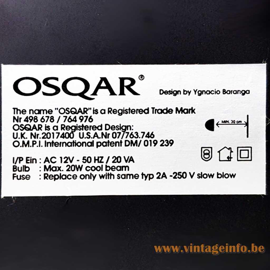 Ygnacio Baranga Osqar Table Lamp - Label