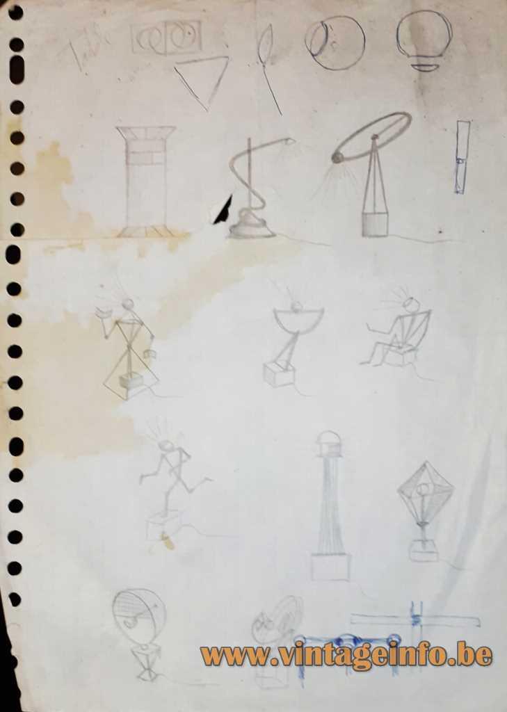 Ygnacio Baranga Osqar Table Lamp - Scetch 1980s