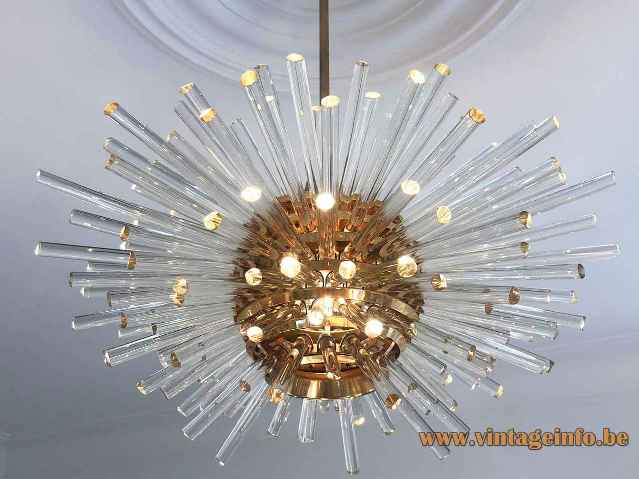 1960s Bakalowits Miracle chandelier model 3317 brass globe lampshade sputnik glass rods sunburst lamp Austria
