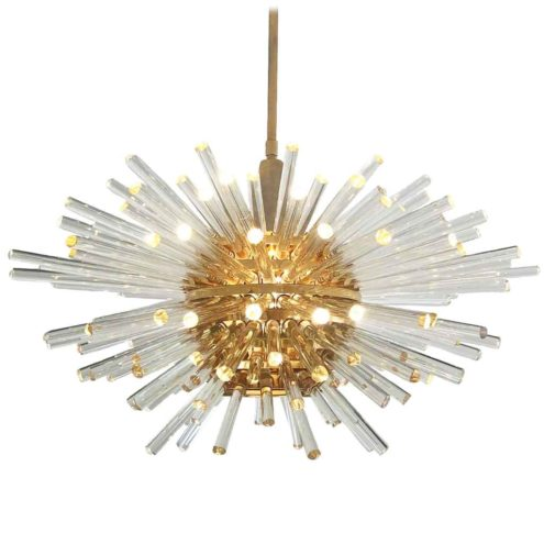 1960s Bakalowits Miracle chandelier model 3317 brass globe lampshade sputnik glass rods sunburst lamp Austria