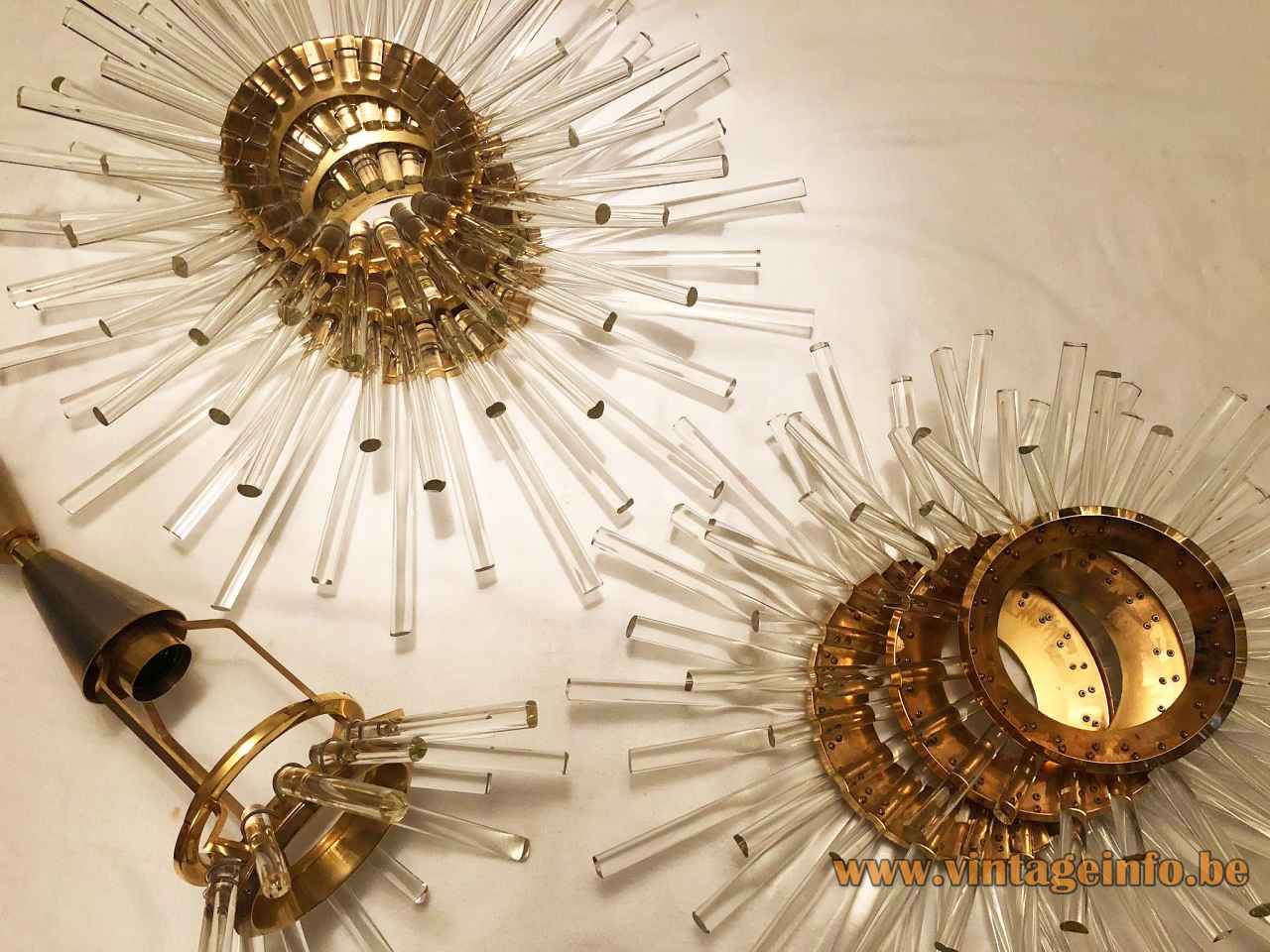 1960s Bakalowits Miracle chandelier model 3317 brass globe lampshade sputnik glass rods sunburst lamp Austria parts