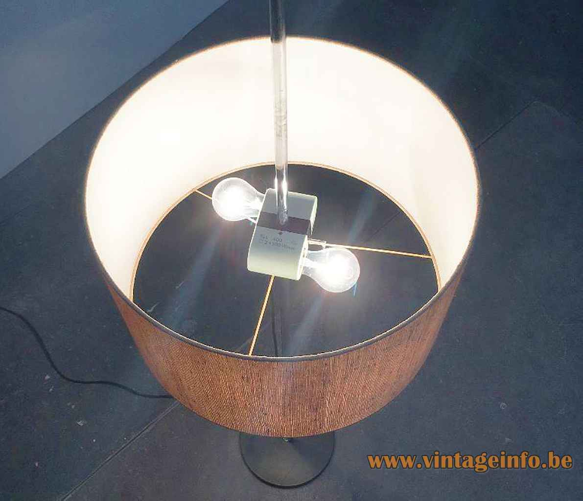 1960s Staff floor lamp round black metal base chrome rod fabric lampshade E27 sockets Germany 1970s