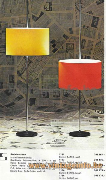 1960s Staff Floor Lamp - 1964 Catalogue Picture