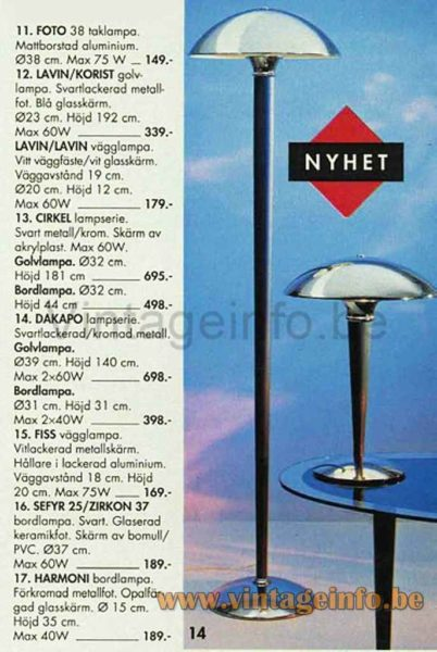 1980s Massive Art Deco Table Lamp - IKEA Dakapo Table & Floor Lamp - 1994 Catalogue Picture