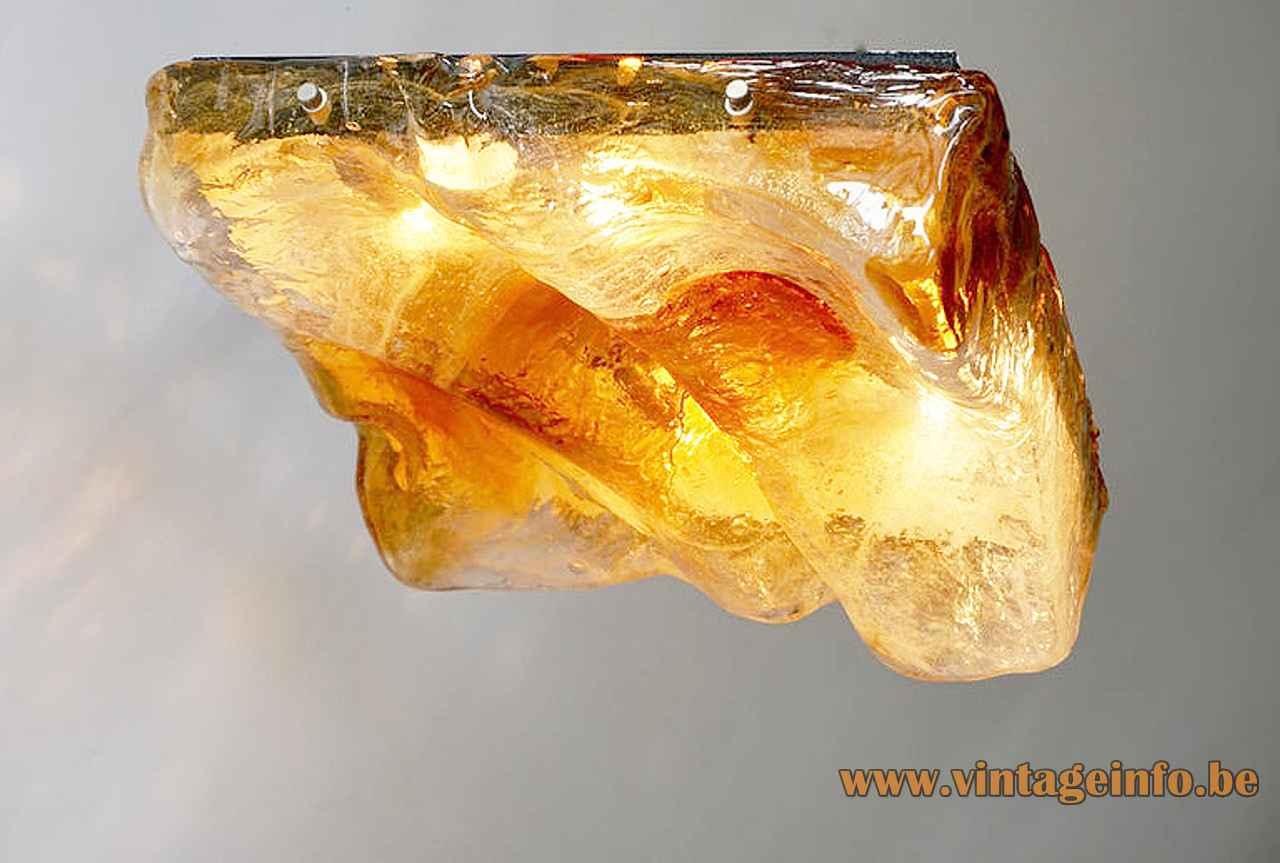 AV Mazzega square flush mount hand blown clear & amber embossed glass tile lampshade 1970s Murano Italy