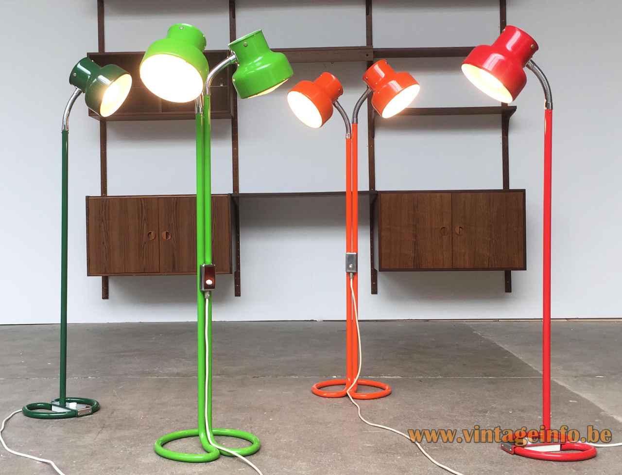 Anders Pehrson Bumling floor lamp collection green orange & red 1968 design Atelje Lyktan Sweden 1960s 1970s
