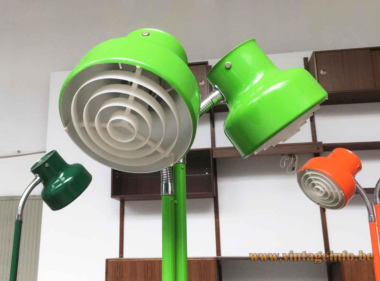Anders Pehrson Bumling floor lamp green lampshades plastic grid diffuser 1968 design Atelje Lyktan Sweden 1960s 1970s