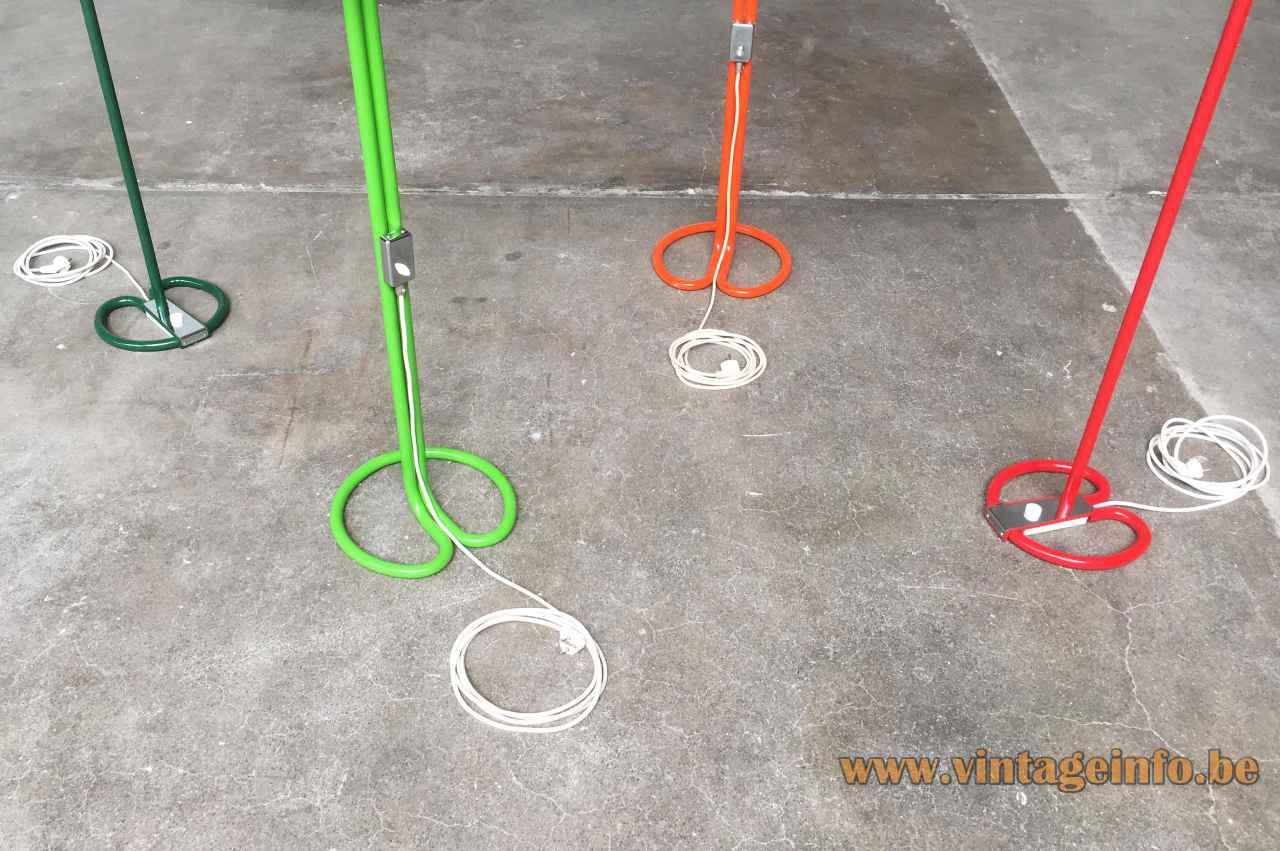 Anders Pehrson Bumling floor lamp round tubular bases green orange red 1968 design Atelje Lyktan Sweden 1960s