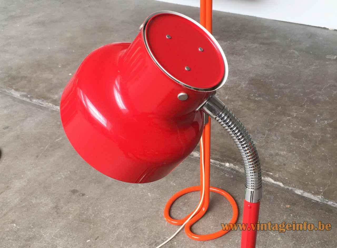 Anders Pehrson Bumling floor lamp round red metal lampshade 1968 design Atelje Lyktan Sweden 1960s 1970s