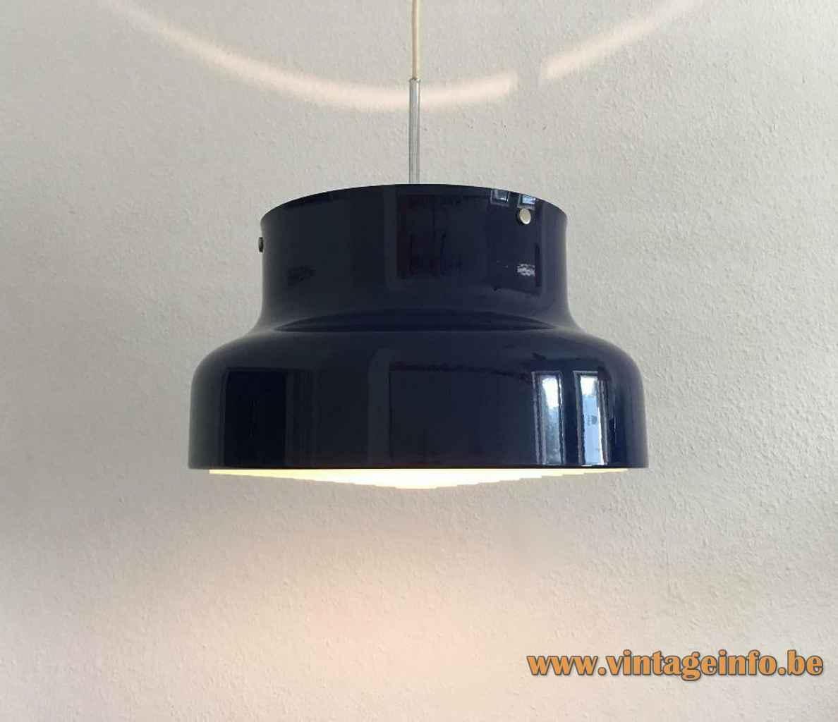Anders Pehrson Bumling pendant lamp round blue metal lampshade white grid 1968 design Atelje Lyktan Sweden