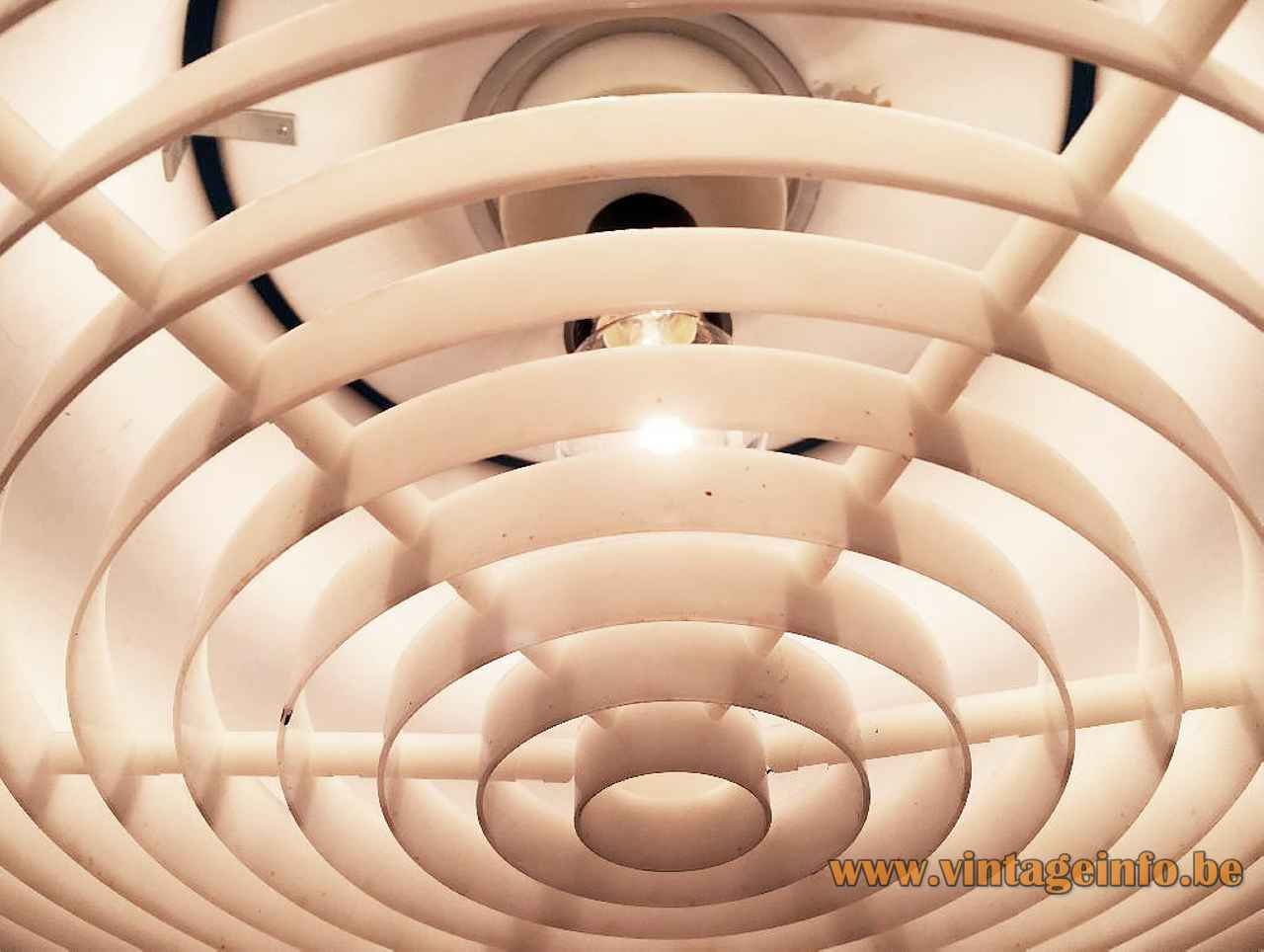 Anders Pehrson Bumling pendant lamp 1968 design Atelje Lyktan Round white plastic grid Sweden