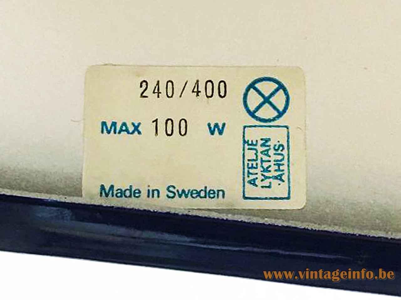 Anders Pehrson Bumling pendant lamp 1968 design Atelje Lyktan paper label 100 watt Sweden