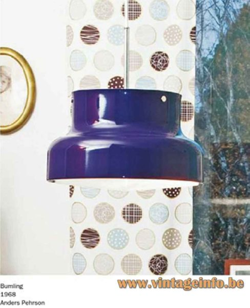 nders Pehrson Bumling pendant lamp, 1968 design, Atelje Lyktan catalogue picture, Sweden