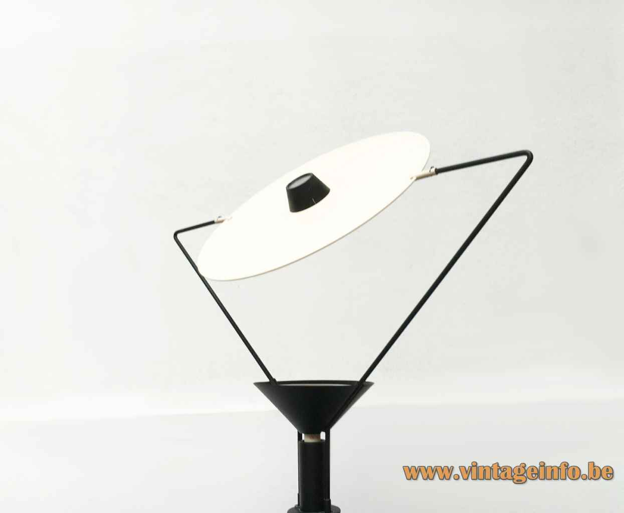 Artemide Polifemo floor lamp 1983 design: Carlo Forcolini round base long rod disc lampshade 1980s Italy