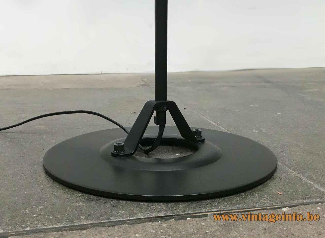 Artemide Polifemo floor lamp 1983 design: Carlo Forcolini round black metal base 1980s Italy
