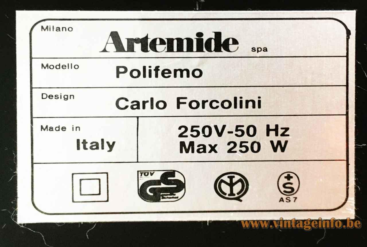 Artemide Polifemo floor lamp 1983 design: Carlo Forcolini label 1980s Italy 250 Volt Watt